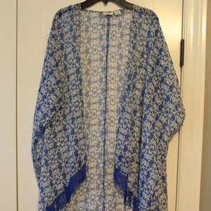 Blue Patterned Cover Up With Tassles